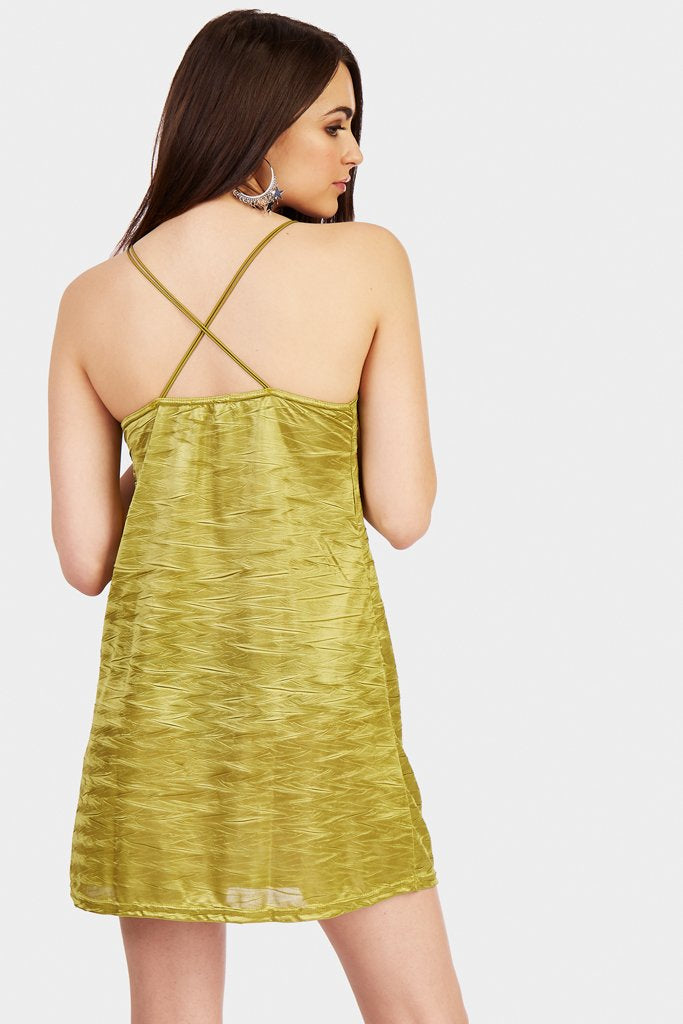 Avocado Plunge Mini Dress With A Cross Back Detail