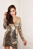 Metallic Sequin Plunge Wrap Mini Dress