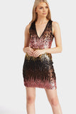 Multi Plunge Ombre Sequin Mini Dress