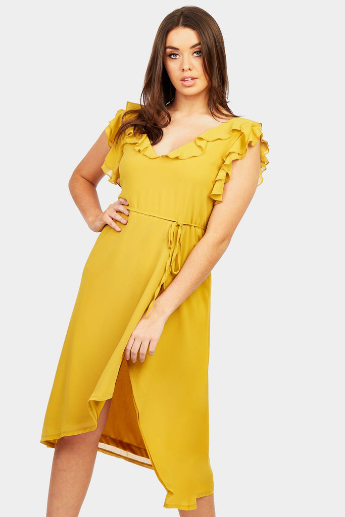 Mustard Frill Strap Midi Dress view main view