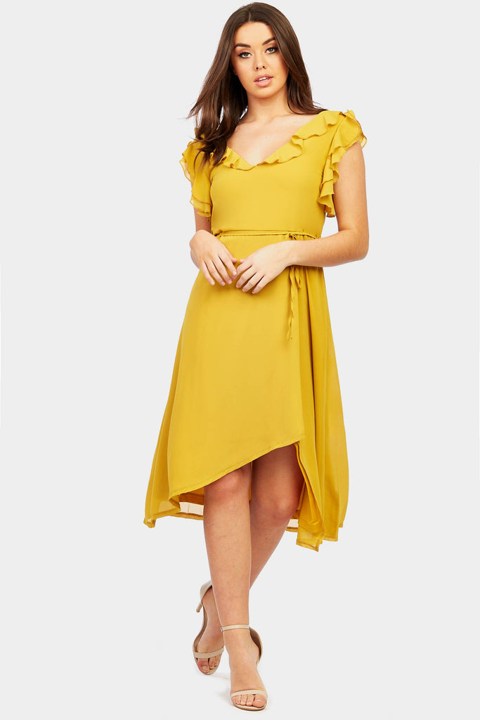 Mustard Frill Strap Midi Dress view 2