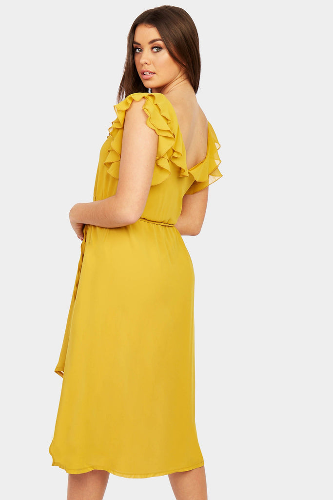 Mustard Frill Strap Midi Dress view 6