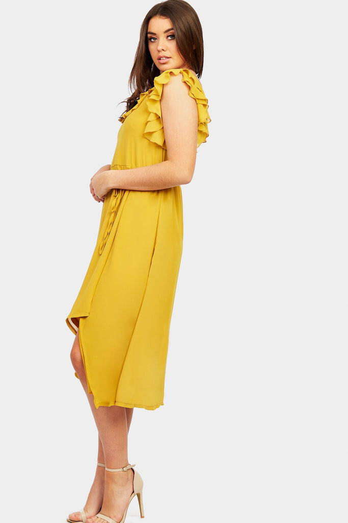 Mustard Frill Strap Midi Dress view 4