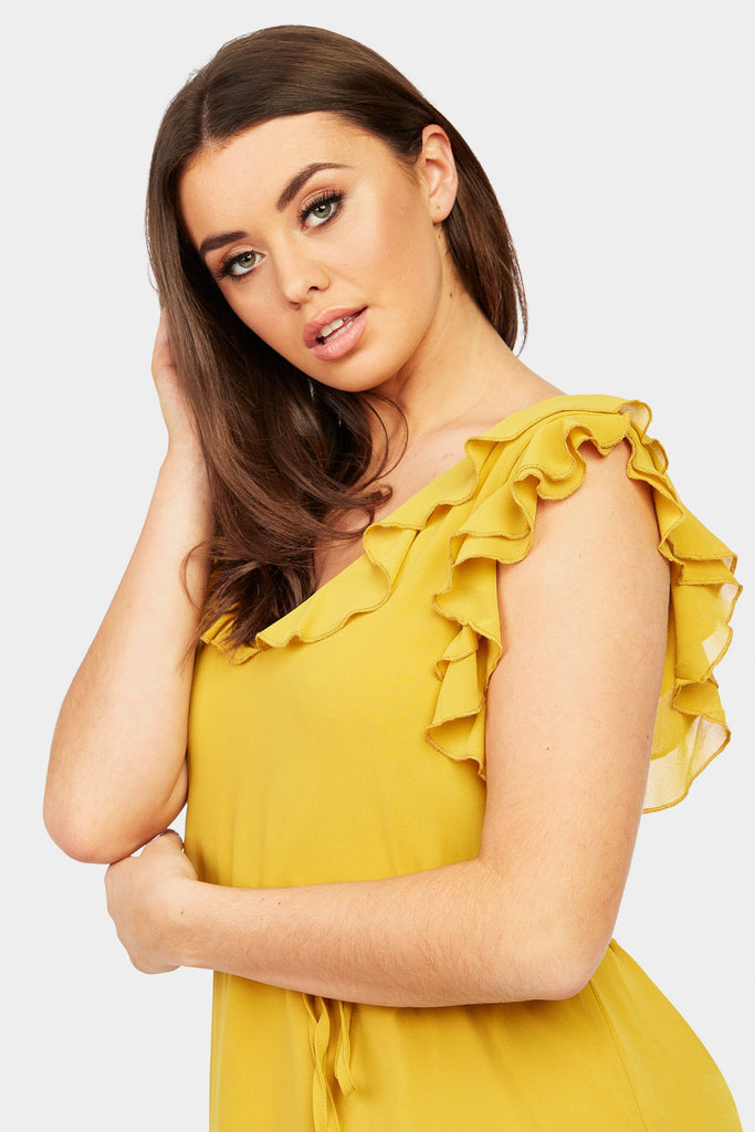 Mustard Frill Strap Midi Dress view 3