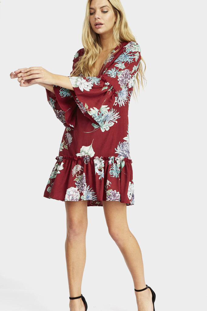 floral-frill-hem-dress view 2