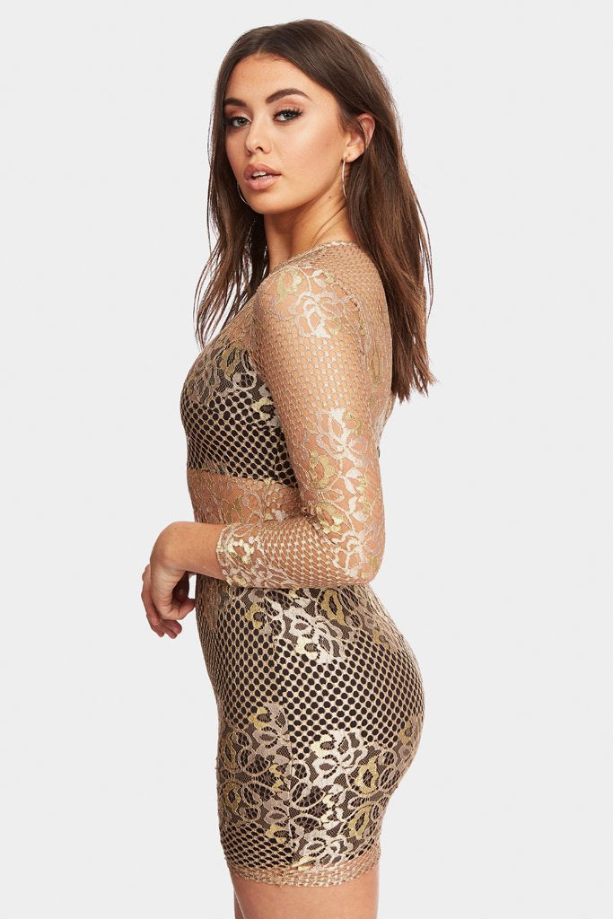 Gold Sheer Panel Lace Bodycon Mini Dress