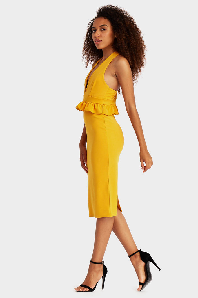 Mustard Frill Waist Midi Dress With Racer Back