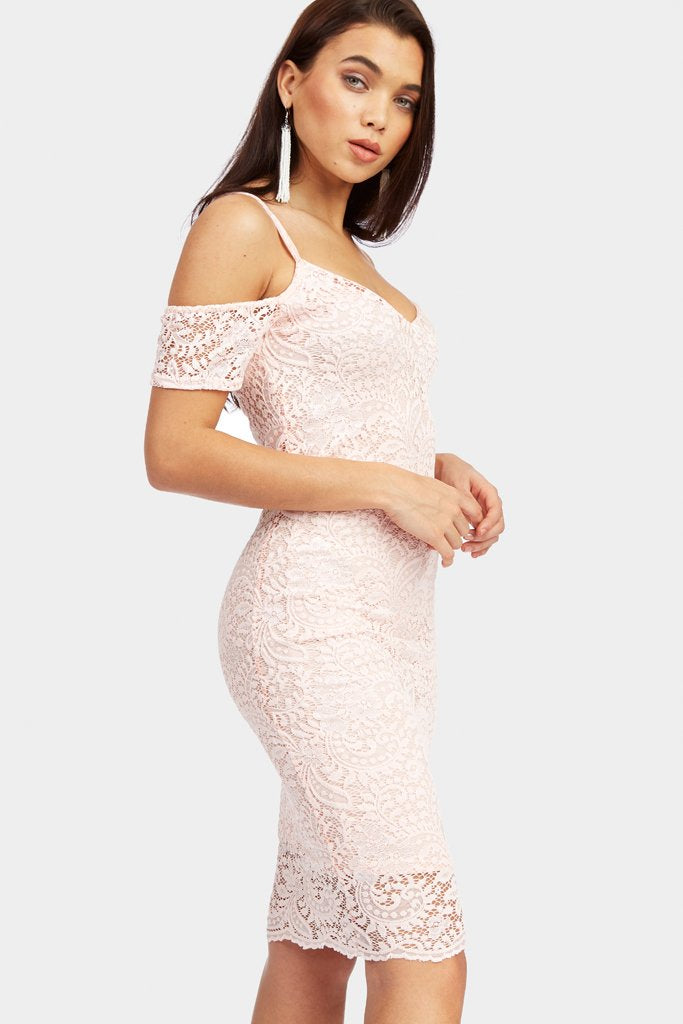 Nude Lace Cold Shoulder Midi Dress