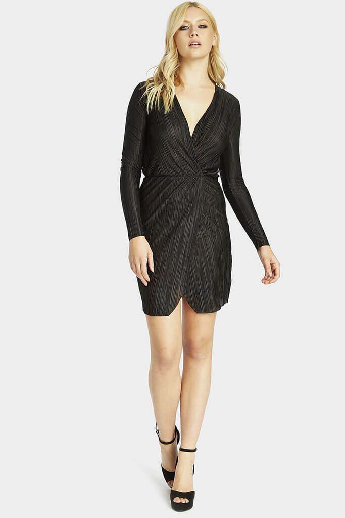 pleated-long-sleeve-wrap-dress view 2