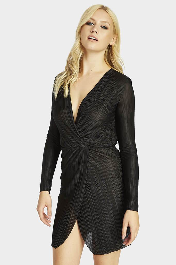 pleated-long-sleeve-wrap-dress view main view