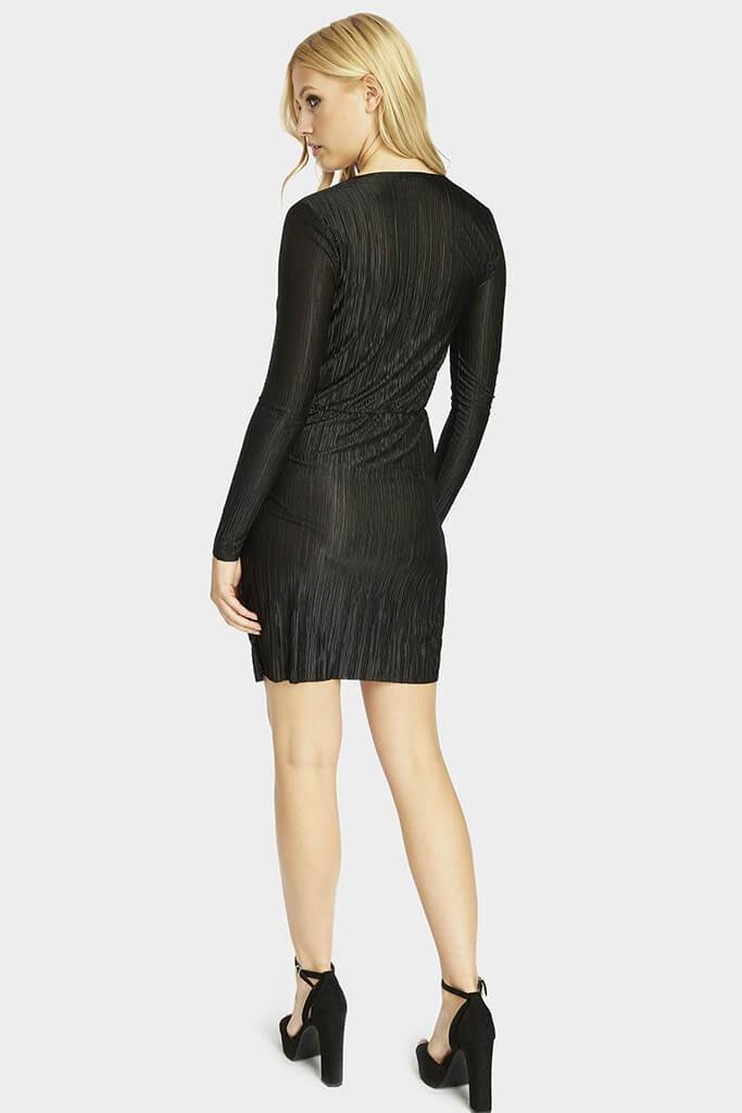 pleated-long-sleeve-wrap-dress view 5