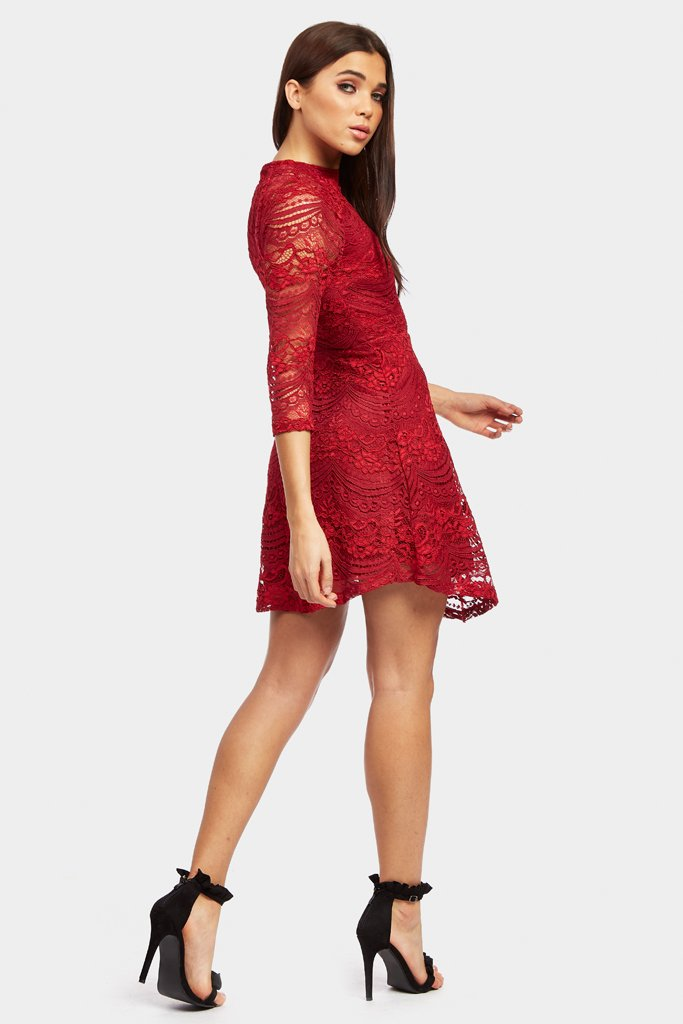 Berry 3/4 Sleeve Lace Skater Dress