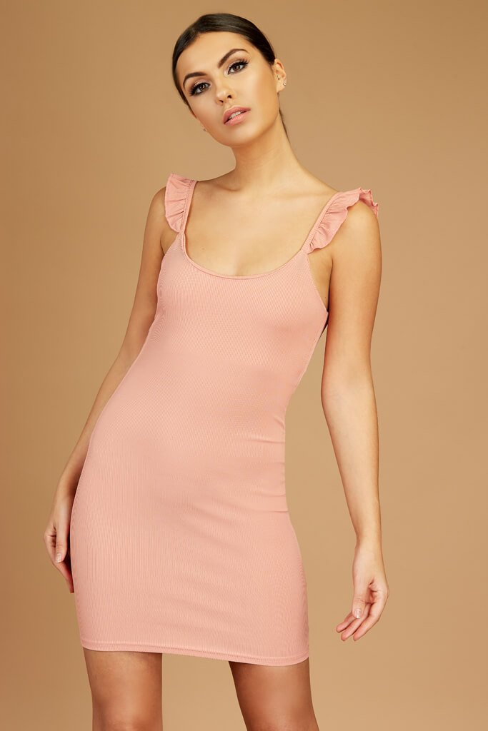 Nude Sleeveless Ribbed Dress view main view