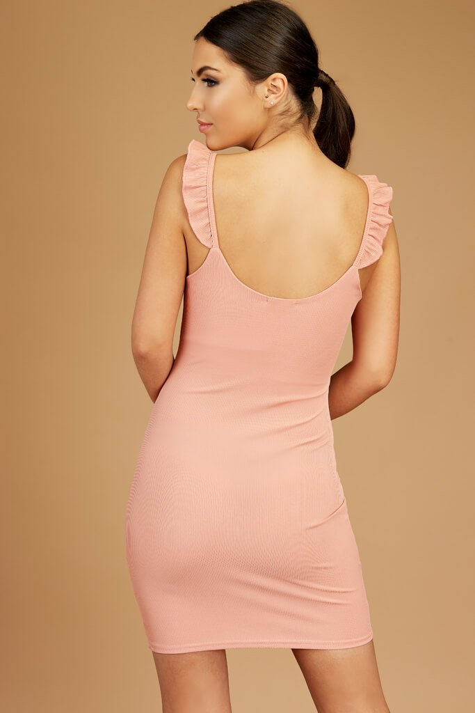 Nude Sleeveless Ribbed Dress view 5