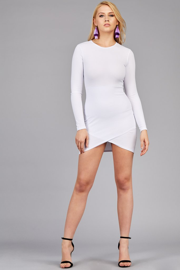 White Long Sleeve Mini Bodycon Dress With Wrap Skirt