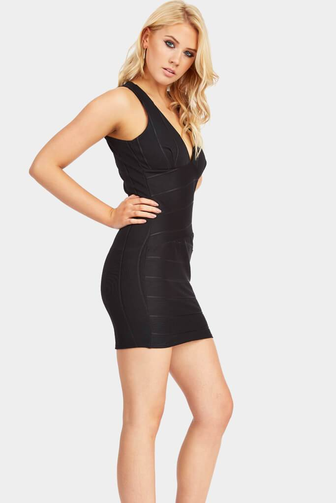 Black Sleeveless Bodycon Bandage Mini Dress view 3
