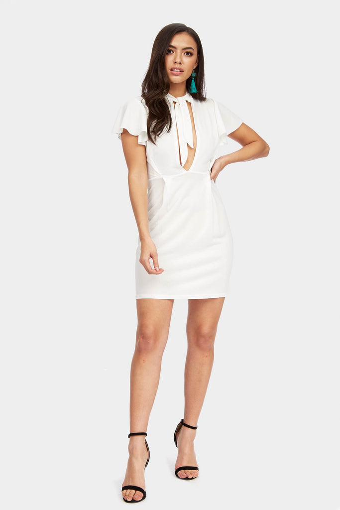 Ivory Frill Sleeve Choker Tie Dress