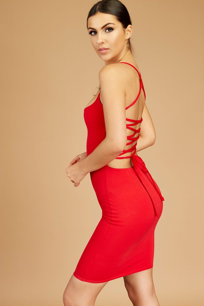 Red Lace Up Open Back Dress view 5