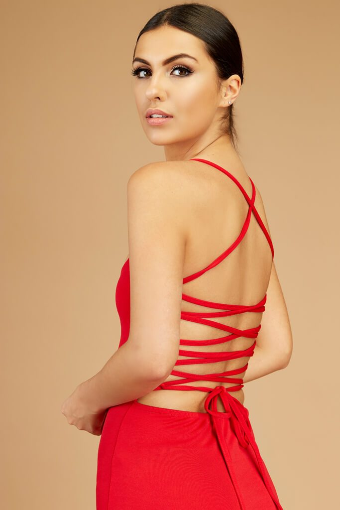 Red Lace Up Open Back Dress view 3
