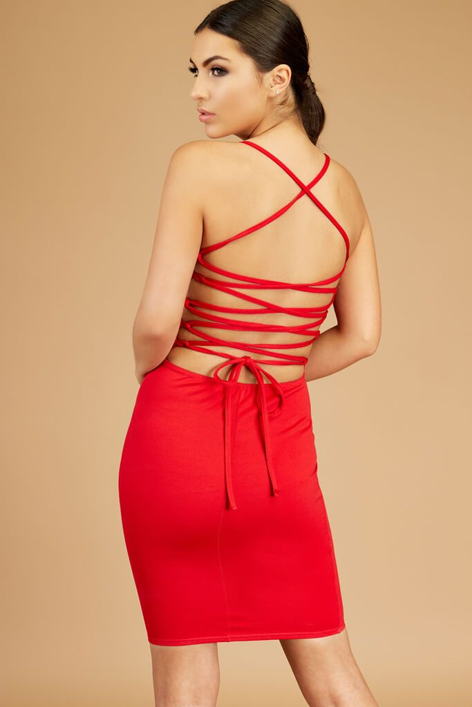 Red Lace Up Open Back Dress view 2