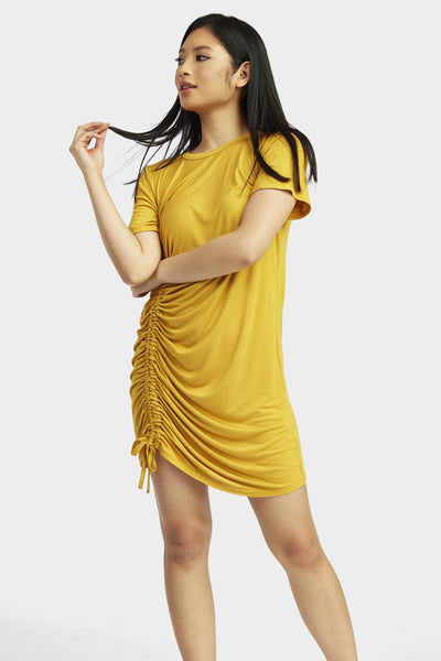 Mustard Ruched Side T-Shirt Dress
