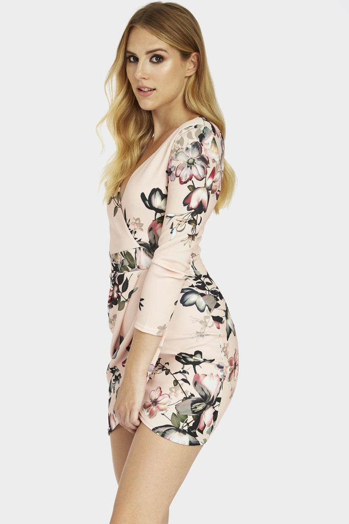 Pink Floral Print Wrap Over Dress