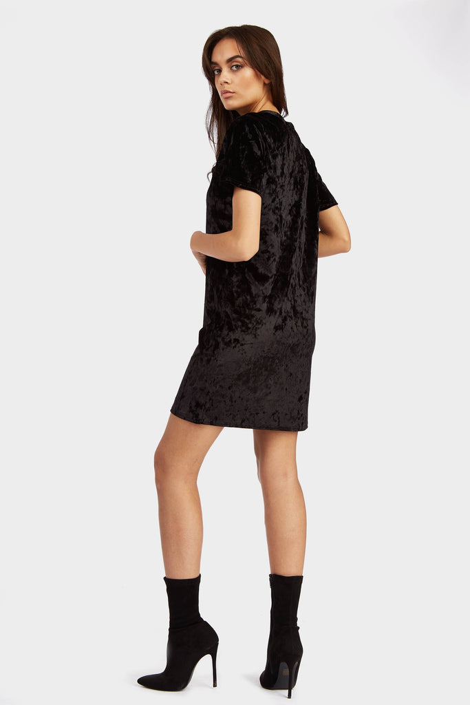Black Crushed Velour Dress