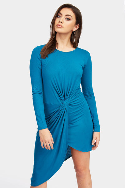 Teal Long Sleeve Knot Front Midi Dress