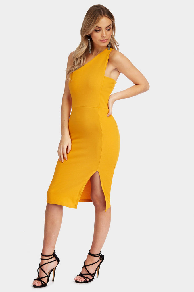 Mustard One Shoulder Slit Dress