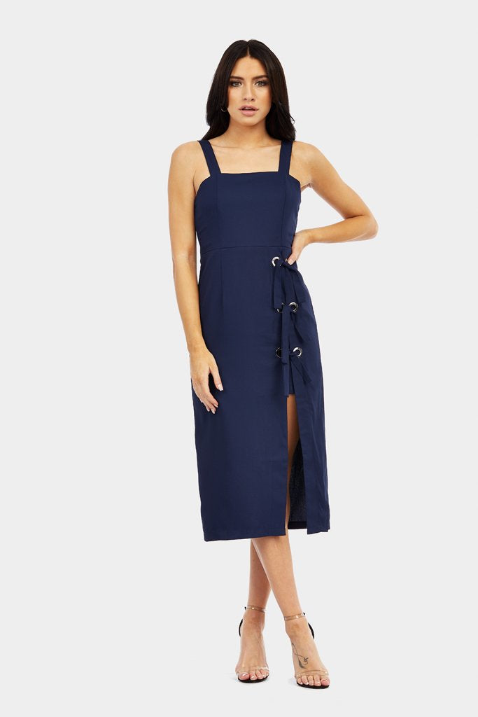 Navy Split And Lace Up Detail Midi Dress