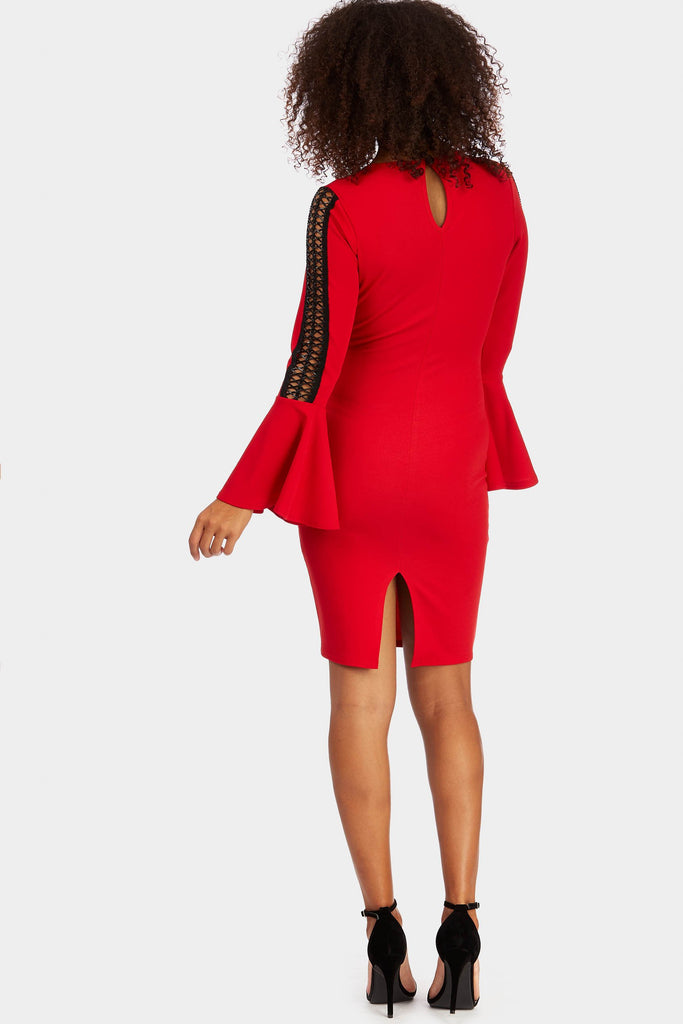 flare-sleeve-with-cross-sleeve-detail-dress view 3