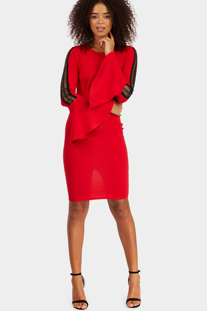 flare-sleeve-with-cross-sleeve-detail-dress view 4
