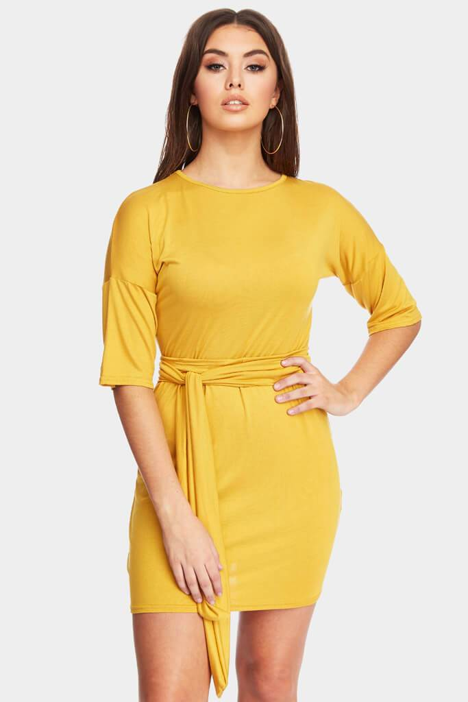 Mustard 3/4 Sleeve Dress With Tie Belt Waist
