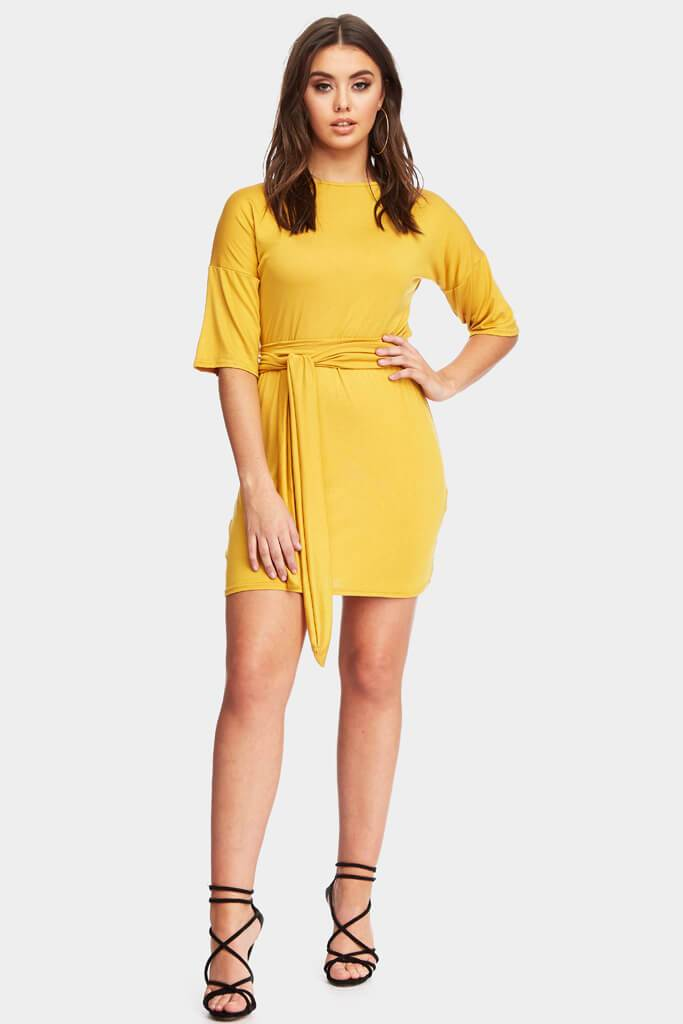 Mustard 3/4 Sleeve Dress With Tie Belt Waist view 2