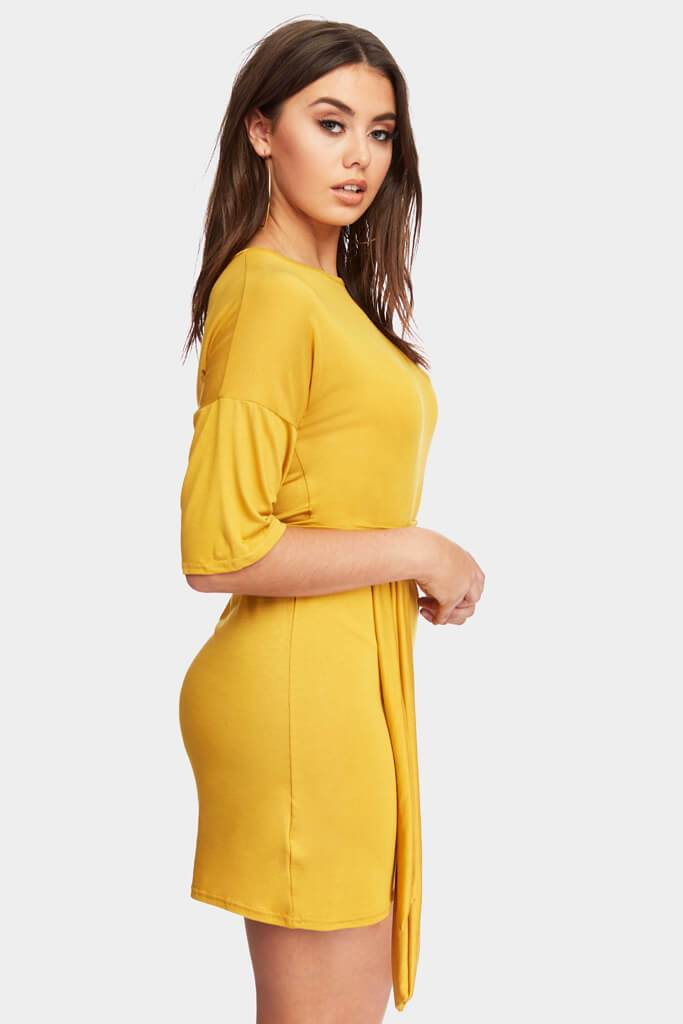 Mustard 3/4 Sleeve Dress With Tie Belt Waist view 3