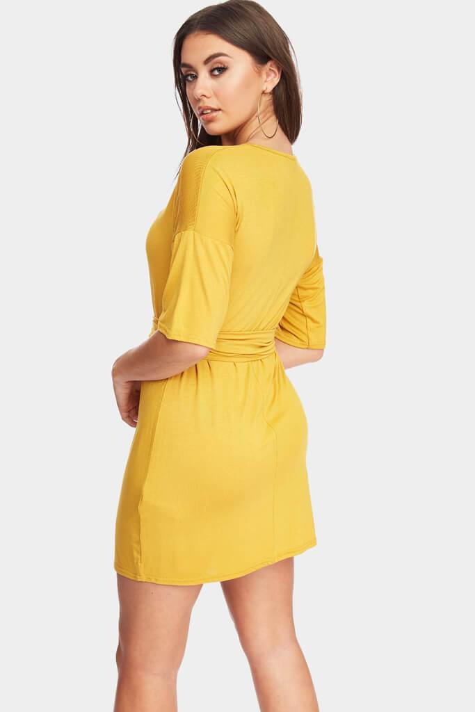 Mustard 3/4 Sleeve Dress With Tie Belt Waist view 6