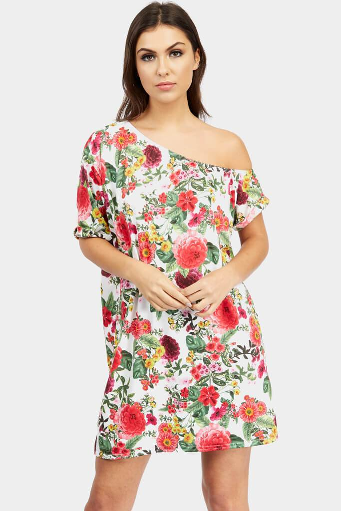 Multi Floral Off The Shoulder Shift Dress