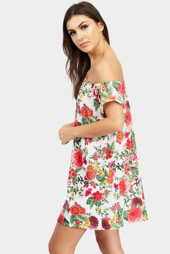 Multi Floral Off The Shoulder Shift Dress view 3