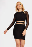 Black Mesh Sleeve Strappy Cross Front Mini Dress