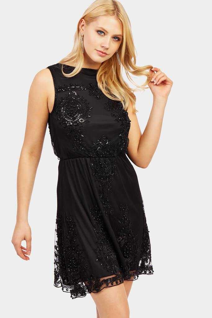 sequin-and-beaded-skater-dress-with-plunge-back
