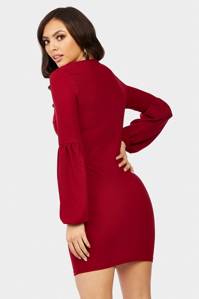 Wine Balloon Sleeve Mini Dress