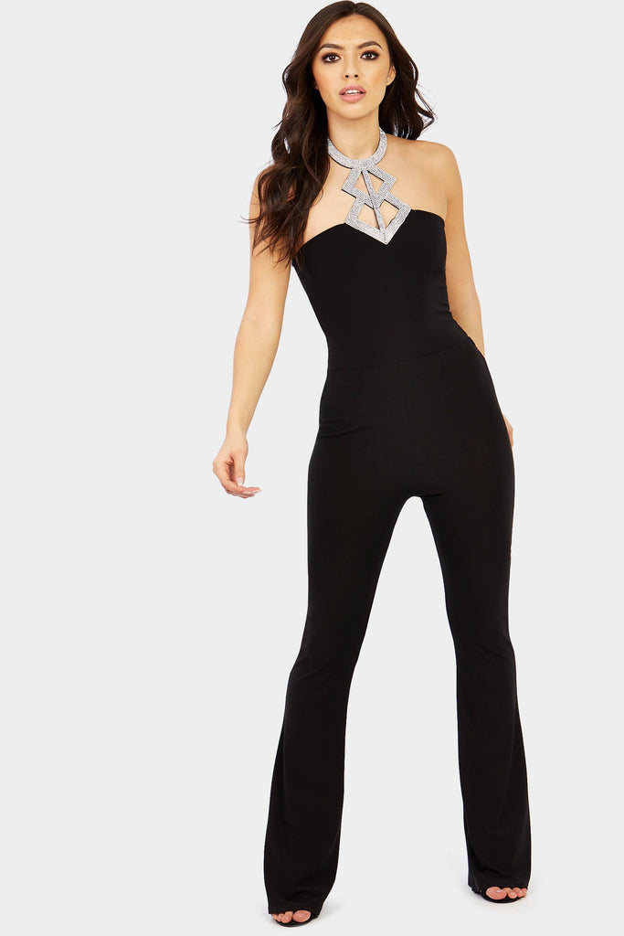 Black Diamante Detail Bodysuit