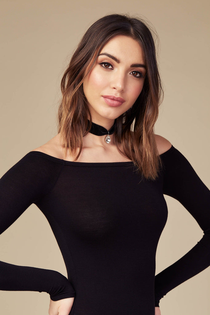 Black Basic Bardot Bodysuit