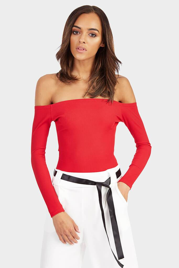 Red Off The Shoulder Long Sleeve Bodysuit