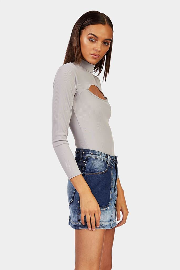 Grey High Neck Cut Out Bodysuit