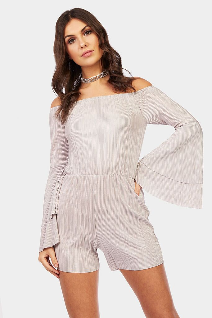 bardot-frill-sleeve-playsuit view main view