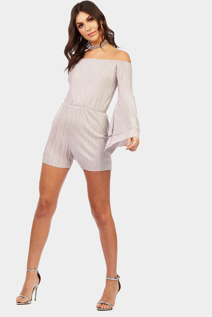 bardot-frill-sleeve-playsuit view 2