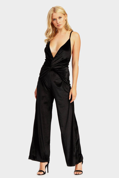 Black Strappy Knot Detail Jumpsuit