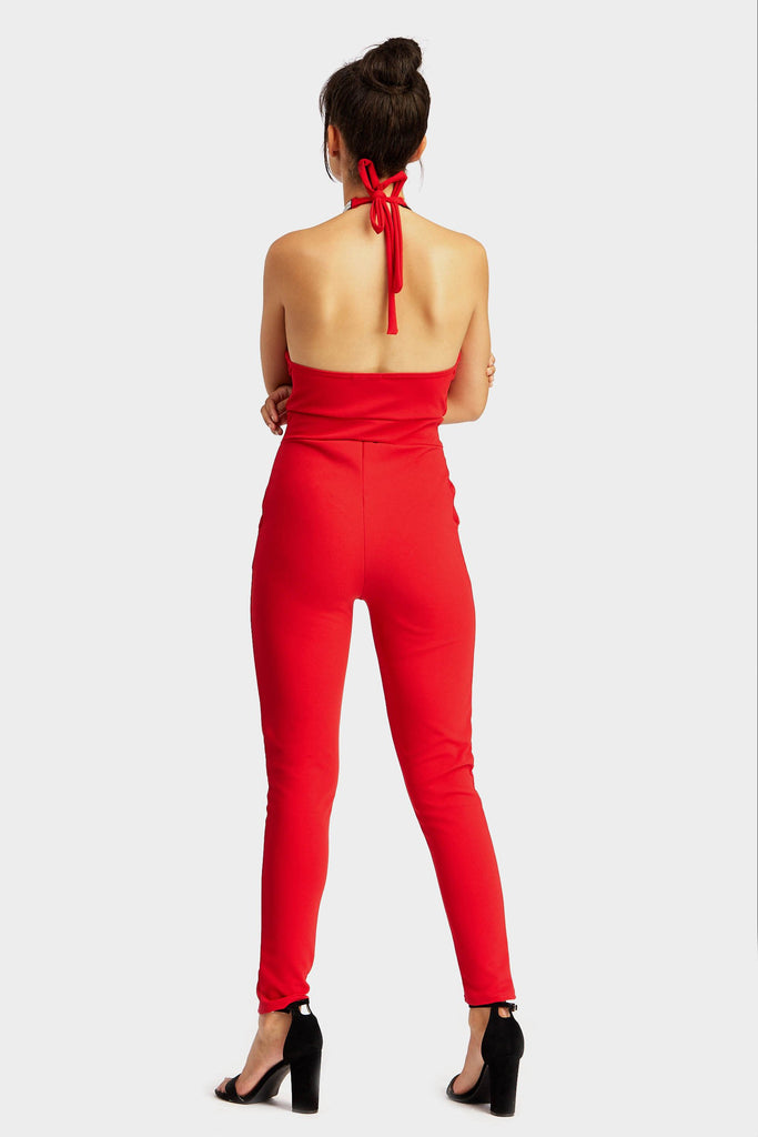 Red Diamante Detail Jumpsuit