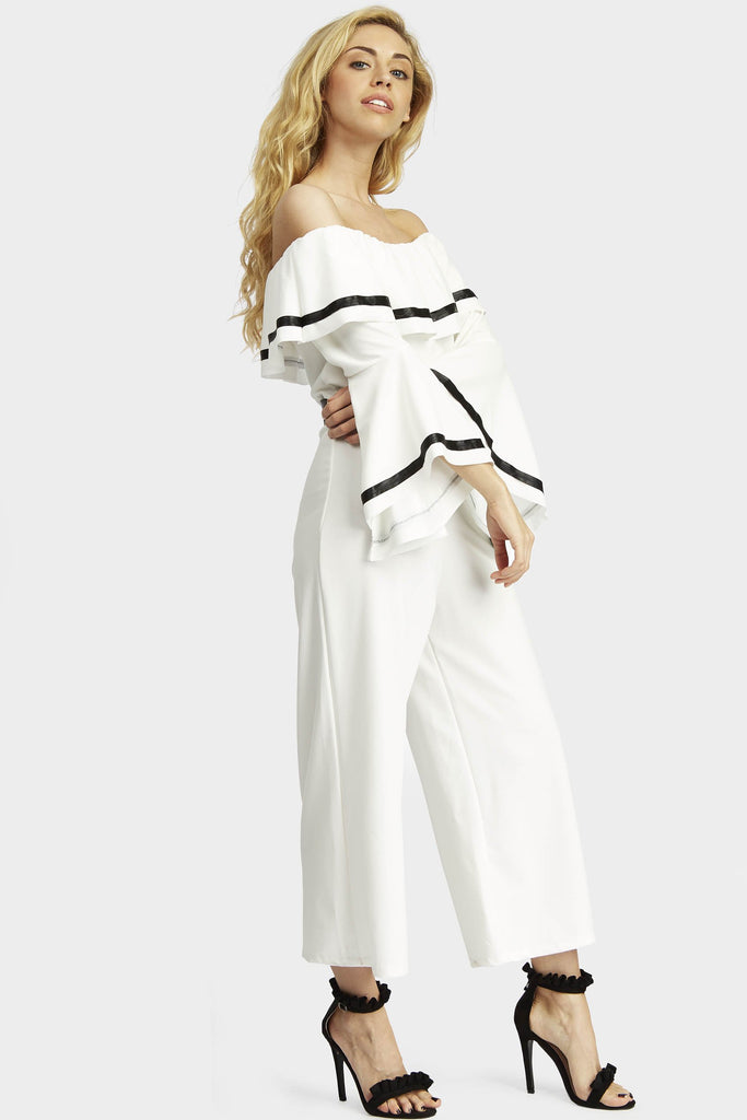flare-sleeve-off-the-shoulder-jumpsuit view 2